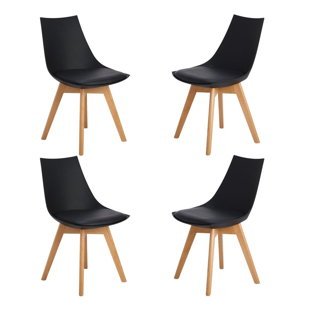 H.J WeDoo Lot de 4 Rétro Chaise Salle à Manger design scandinave - chaises de cuisine rembourrée Chaise avec pieds