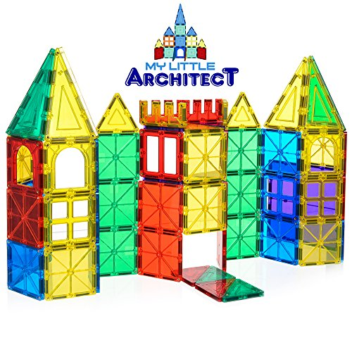 My Little Architect, Magnetic Tiles for Kids, 60-piece 3D Ma