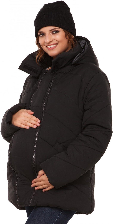 Happy Mama para Mujer Chaqueta Guateada Capucha Inserción Extraíble Abrigo. 075p (Negro, EU 42, XL)