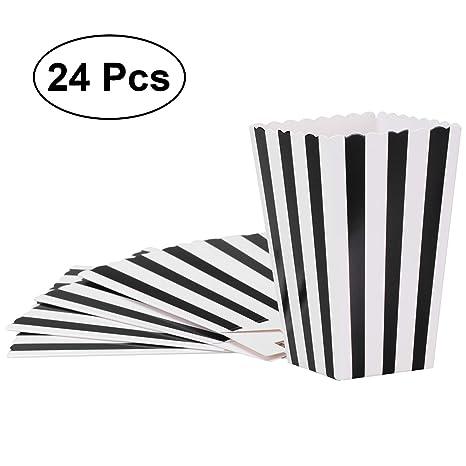 NUOLUX 24pcs popcorn boxes cajas de palomitas envases cajas de cartón bolsas de palomitas de maíz blanco caja de rayas negro