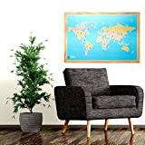 Bullseye Office - 2'x3' Magnetic World Map With Pins, Includes 40 Magnetic Map Pins - Ideal World Map For Travelers and for World Map Travel