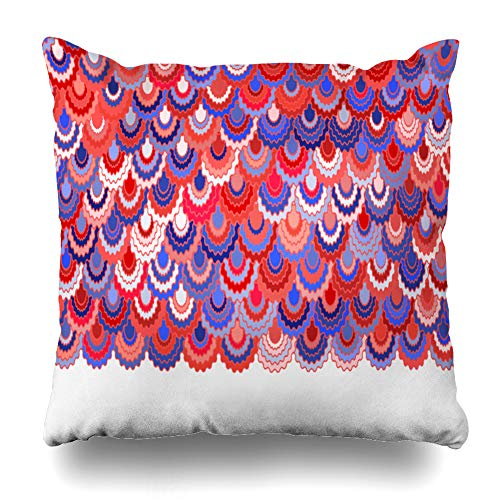 - Ahawoso Throw Pillow Cover Patriotic Blue Colors Holiday American Ribbons Bunting Festive Pink Badge Border Curve Geometric Home Decor Pillowcase Square Size 18 x 18 Inches Zippered Cushion Case