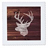 3dRose Russ Billington Designs - White Stags Head on Brown Weatherboard- Not Real Wood - 18x18 inch quilt square (qs_262009_7)