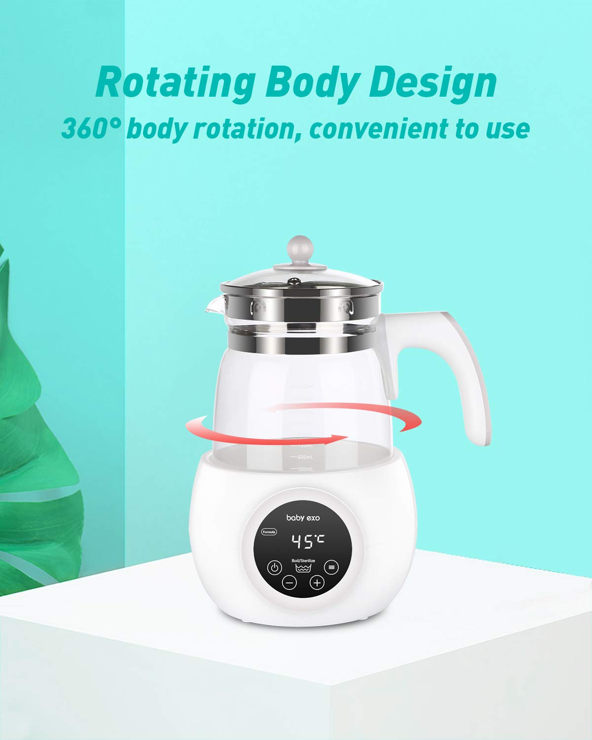 with Steamer Box New BabyEXO Baby Formula Kettle Precise Temperature Formula Mixing Water Kettle 24 Hours Baby Milk Warmer and sterilizer 1.2L Formula Maker 30s Quick Bottle Warmer Steamer for Baby