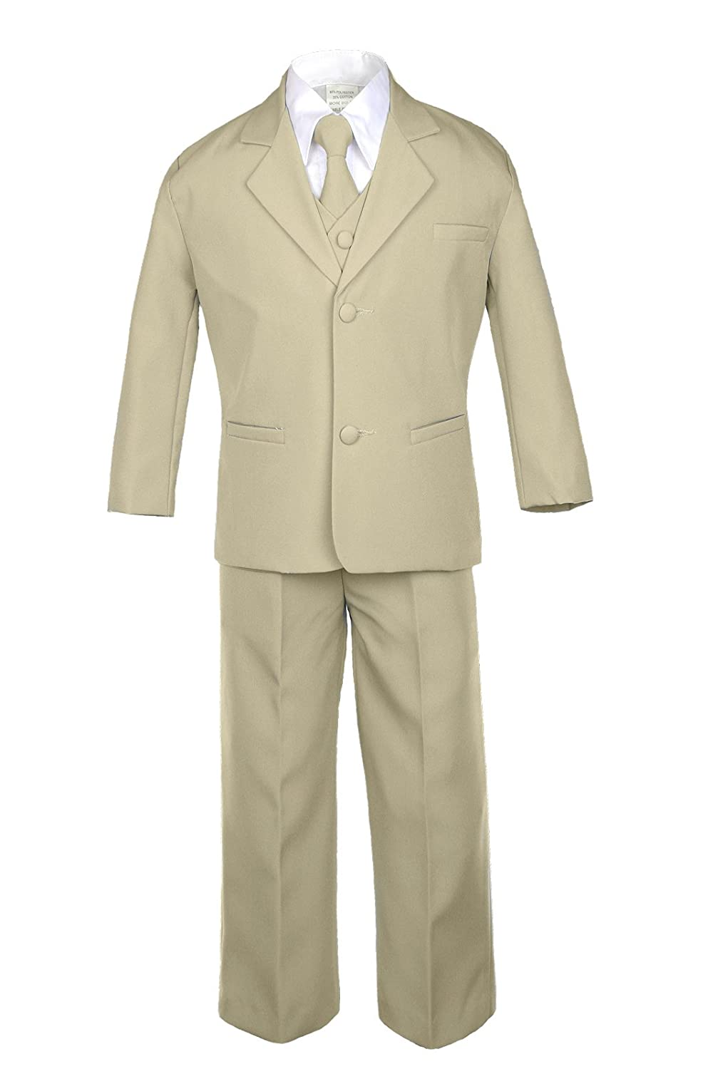 Unotux 6pc Boy Khaki Suits with Satin Turquoise Blue Necktie Outfit Baby to Teen