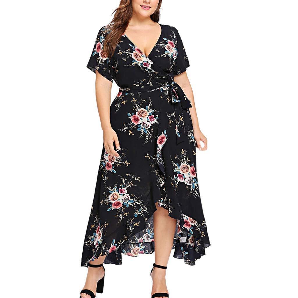 Women Plus Size Floral Print Cross V Neck Pleated Maxi Dress Short Sleeve Slit Irregular Hem Long Dress Black