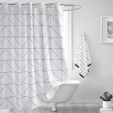 Seavish Fabric Shower Curtain, White Geometric Quick Drying Waterproof 72 x 78 inch Bathroom Shower Curtain Set with Hooks (White Geometric)