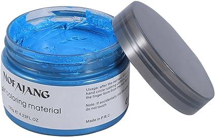 Frcolor Crema Tinte de Pelo Cera de Pelo Profesional para Hombres Mujeres (Azul)