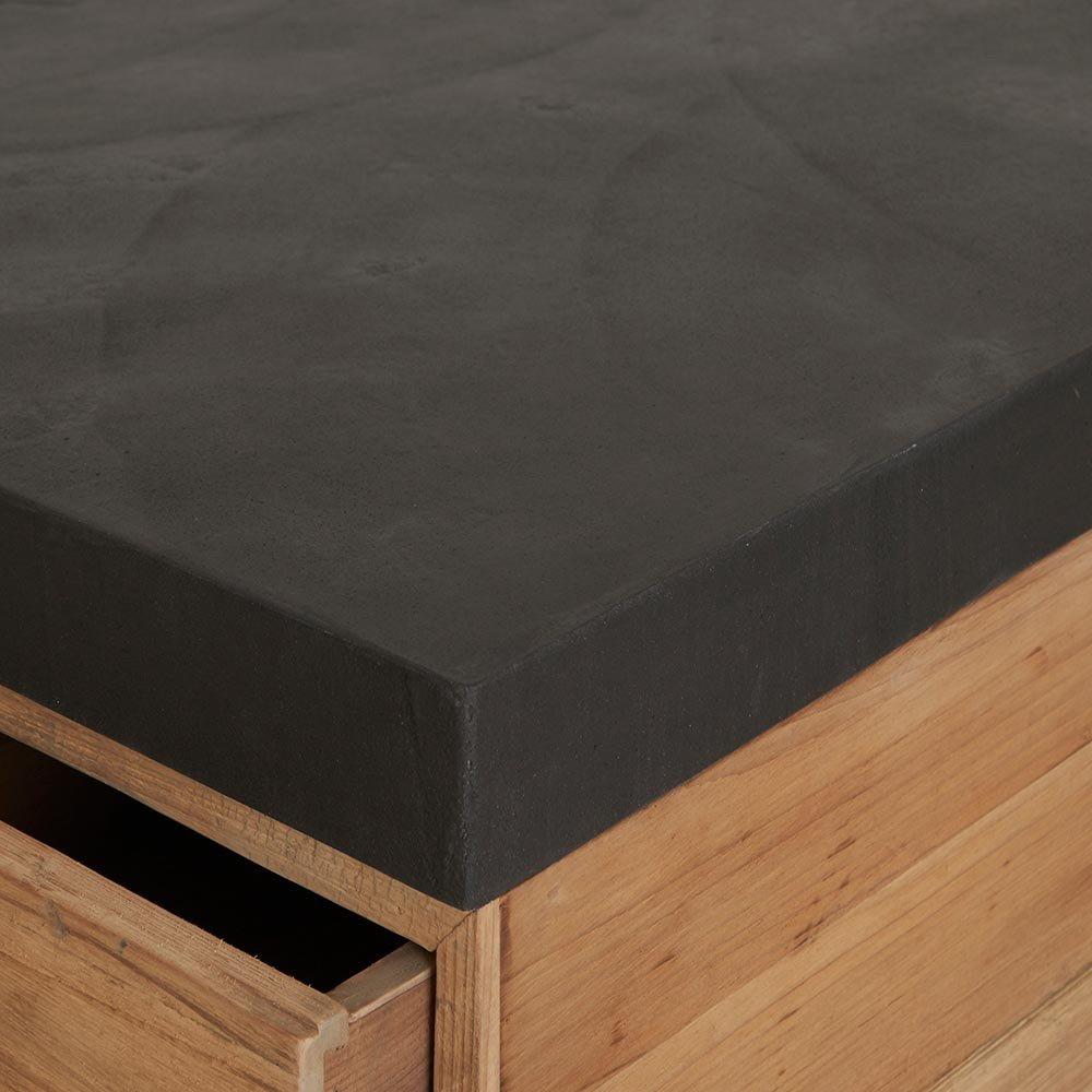 Kücheninsel recycelte Pinie natur Platte Steinoptik 160x90x80cm ...