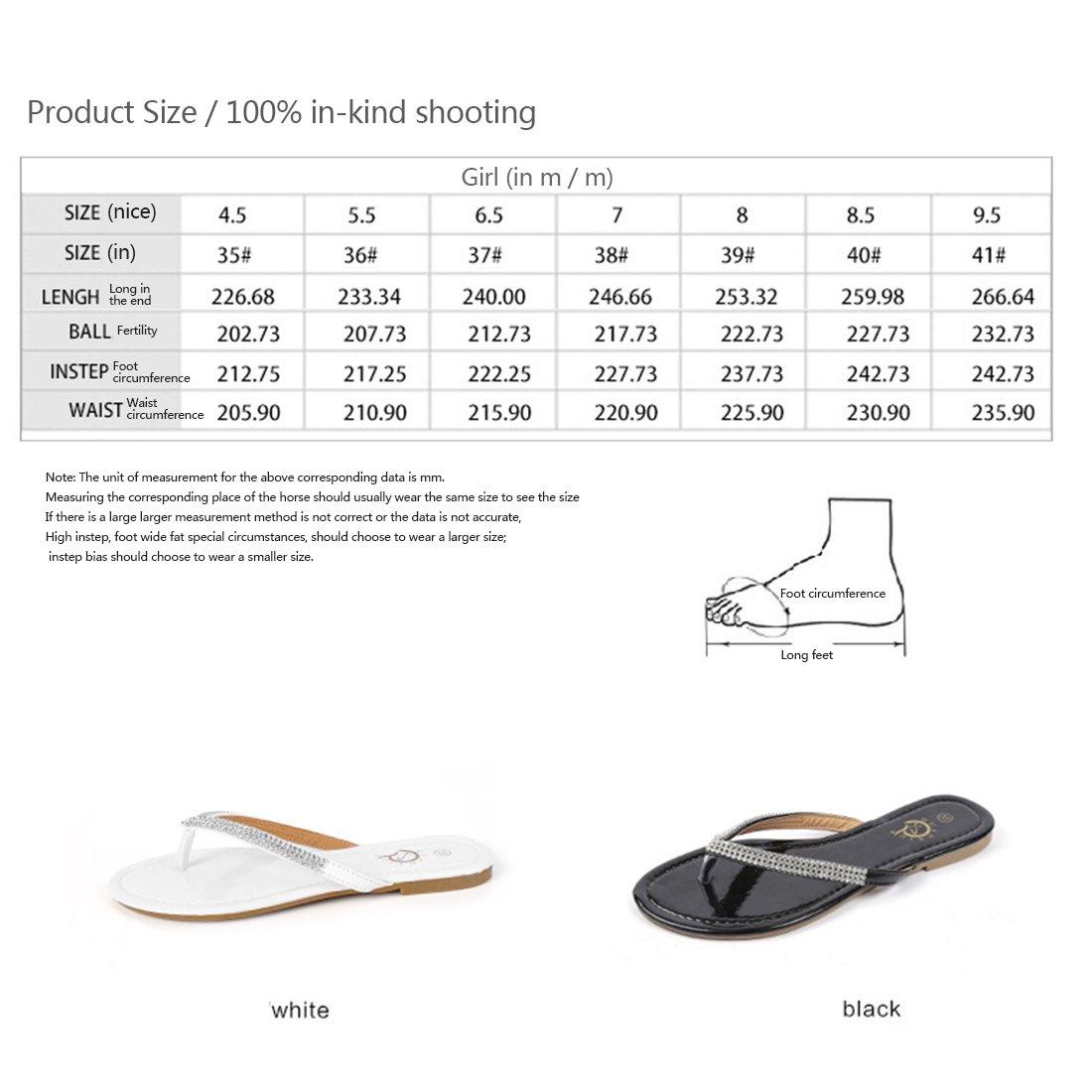 Niceful Women's Flat Rhinestone Flip Flops PU Large Size Casual Summer Sandals B07BKY33RS 10 B(M) US|White