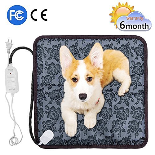 Pet Heating Pad Anyprize Waterproof Electric Pad for Dogs &Cats Warming Mat with Chew Resistant Cord 17.7''x17.7''