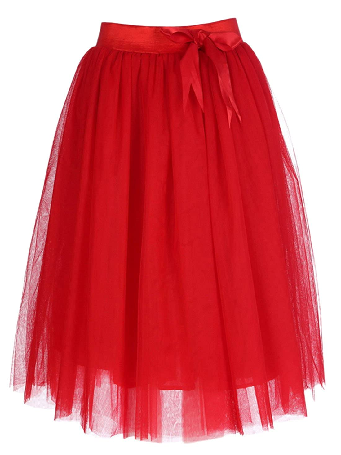 Feoya - Jupe en Tulle Midi Femme Taille Elastique Noeud de Papillon Princesse Jupon Tutu au Genoux Printemps Eté Rouge Noir Mariage Spectacle Danse Soirée Beach