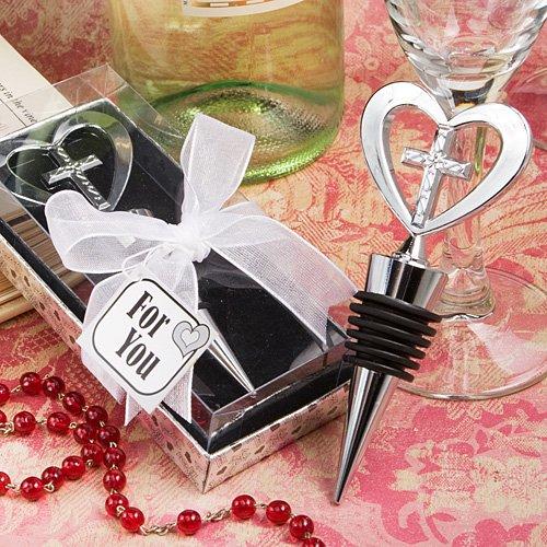Elegant heart and cross design wine bottle stopper favors