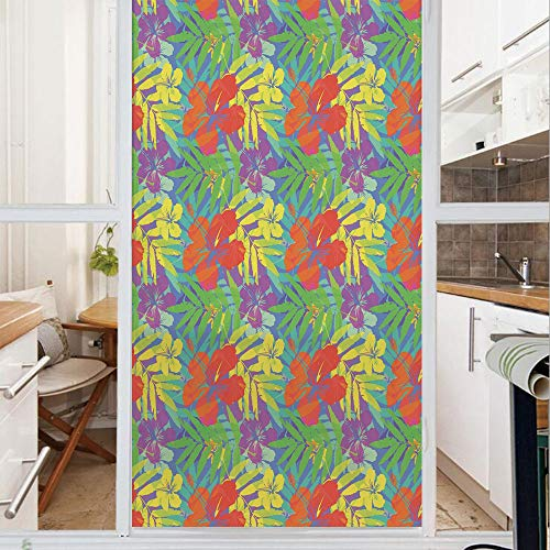 Decorative Window Film,No Glue Frosted Privacy Film,Stained Glass Door Film,Abstract Modern Stylized Vibrant Tropical Plants Hibiscus Artistic Essence Display,for Home & Office,23.6In. by 78.7In Multi