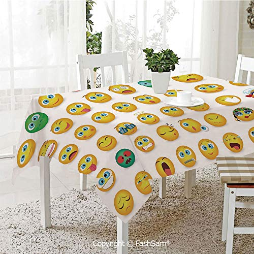 AmaUncle Premium Waterproof Table Cover Cartoon Like Smiley Faces of Mosters Girls Couple Happy Sad Angry Furious Moods Print Resistant Table Toppers (W60 xL84)]()