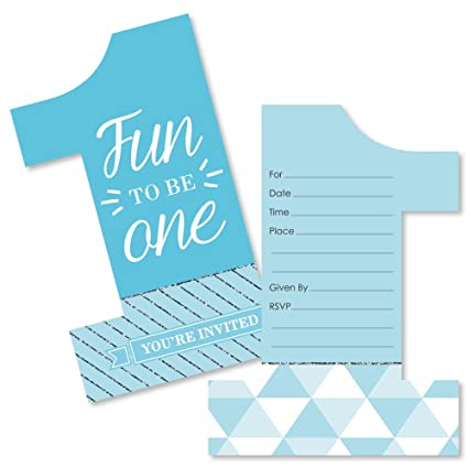 Amazon.com: 1st Birthday Boy - Fun to Be One - Shaped Fill-in Invitations - First Birthday Party Invitation Cards with Envelopes - Set of 12: Toys & Games