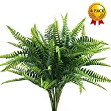 artificial evergreen bushes - Nahuaa 4Pcs Artificial Boston Fern Plants Fake Evergreen Shrubs Faux Plastic Greenery Bushes Bundles Indoor Outdoor Hanging Basket Filler Home Kitchen Table Centerpieces Arrangement Spring Decorations
