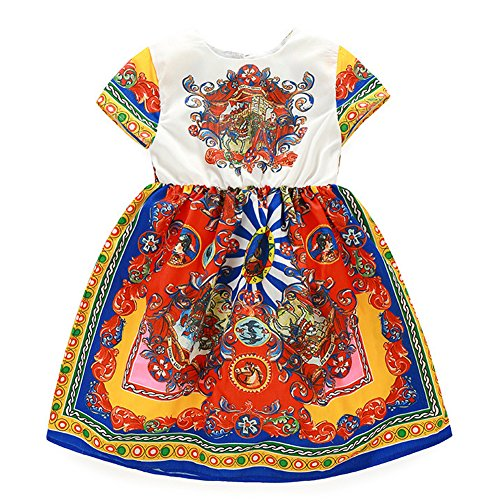 [Chinatera Little Girls Bohemian Vintage Circus Printed Cap Sleeve Tutu Dress (100: 90-100cm for] (Circus Dress)