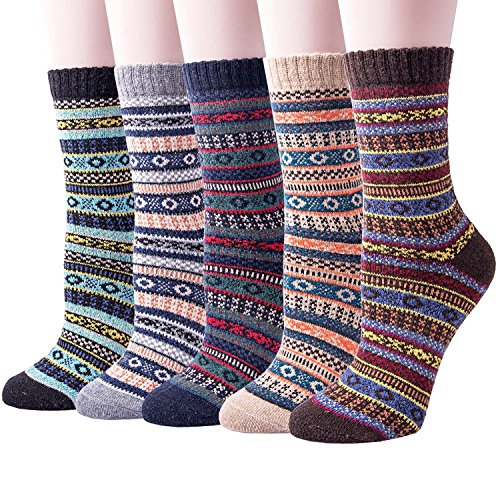 5 Pairs of Thick Knit Warm Winter Casual Crew Socks for - Womens Thick