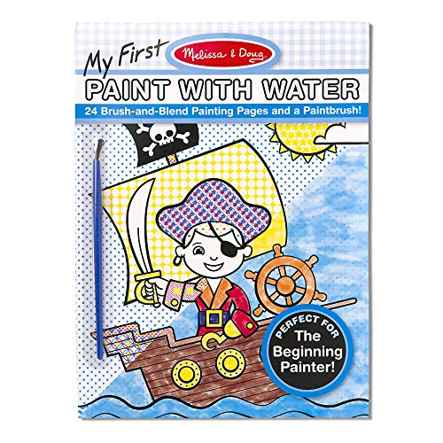 Melissa & Doug My First Paint with Water Kids' Art Pad With Paintbrush - Pirates, Space, Construction, and More (Winter Art And Craft Ideas For Toddlers)