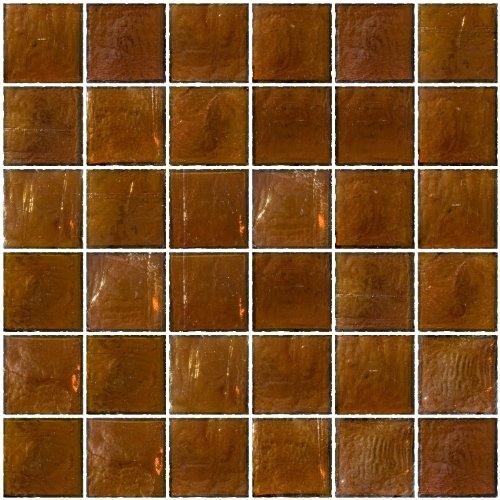 Susan Jablon Mosaics - 2x2 Inch Amber Brown Iridescent Glass Tile