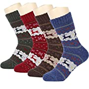 Amazon Lightning Deal 78% claimed: HSELL Women Wool Socks Christmas Deer Pattern Winter Warm Fuzzy Socks 4 Packs