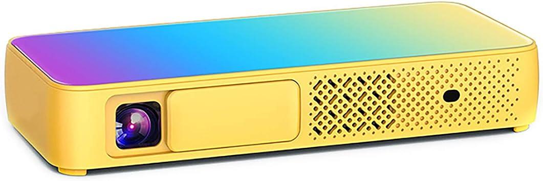 Opinión sobre Hogar y al aire libre proyector de cine mini hogar portátil 1080 p Full HD proyector inalámbrico Wi-Fi proyector amarillo