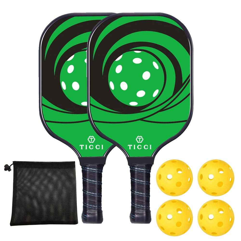 TICCI Pickleball Paddle Set Fiberglass Face Pickleball Racket Lightweight Honeycomb Composite Core Pickleball Racquet Set Includes 2 Paddles + 4 Balls(Green) by T TICCI