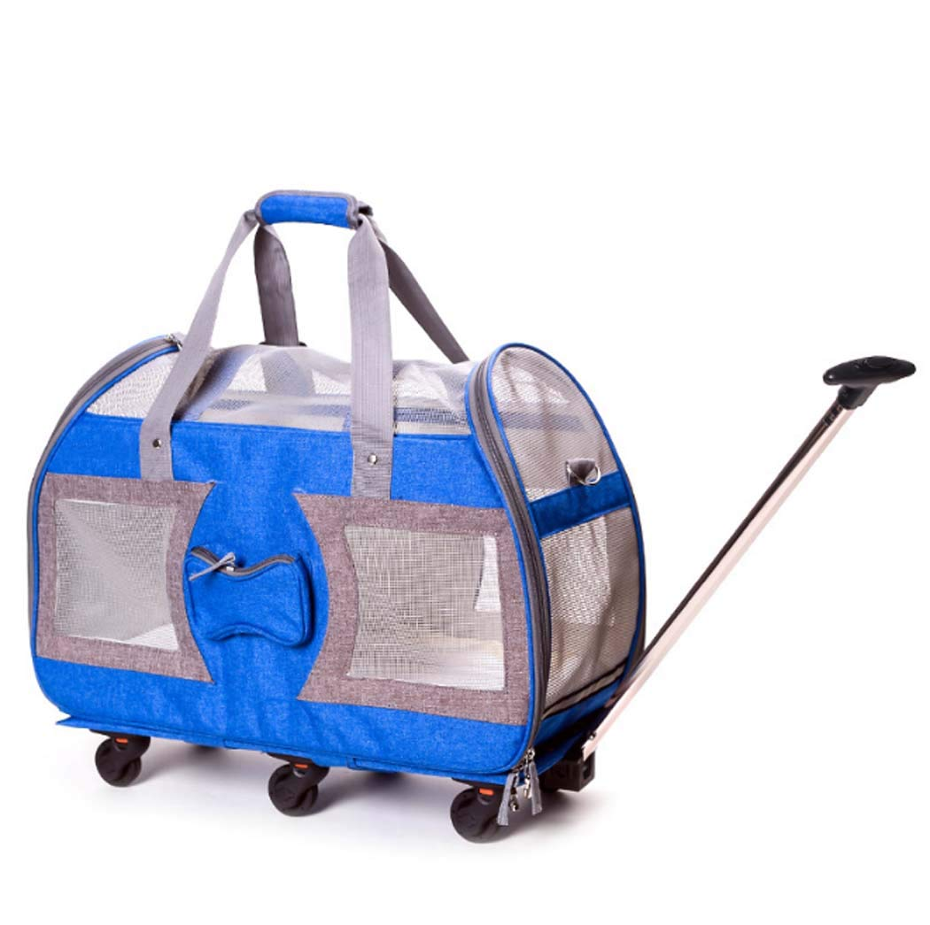 bluee Pet Wheels Rolling Carrier Stroller, Soft Sided Pet Travel Carrier, Removable Wheels & Durable Mesh Panels,bluee