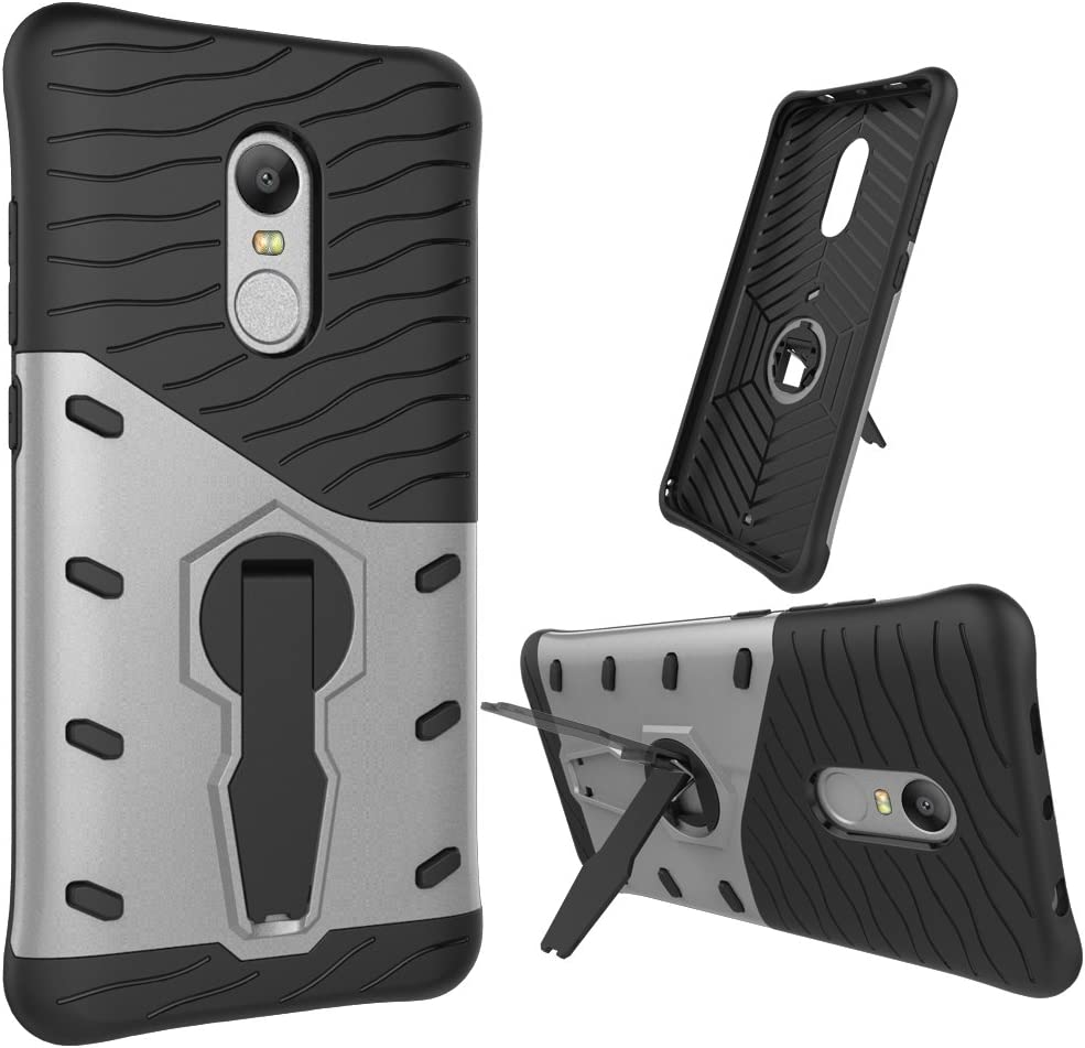 Kickstand silver Redmi Note4 4X Case,Heavy Duty Armor ArmorBox Hybrid Shock Proof Rugged Case Shell Cover Bummper for Xiaomi Redmi Note4 4X Dual Layer