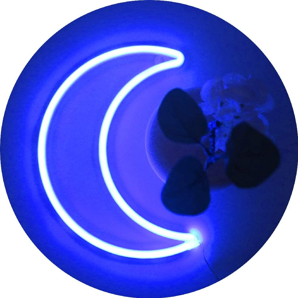 LED Blue Moon Neon Light,Cute Neon Moon Sign,Girl's Room Wall Decor Battery or USB Powered Art Decorative Moon Christmas Lamp Night Lights Indoor for Home, Bedroom,Office,Dorm,Party,Thanksgiving