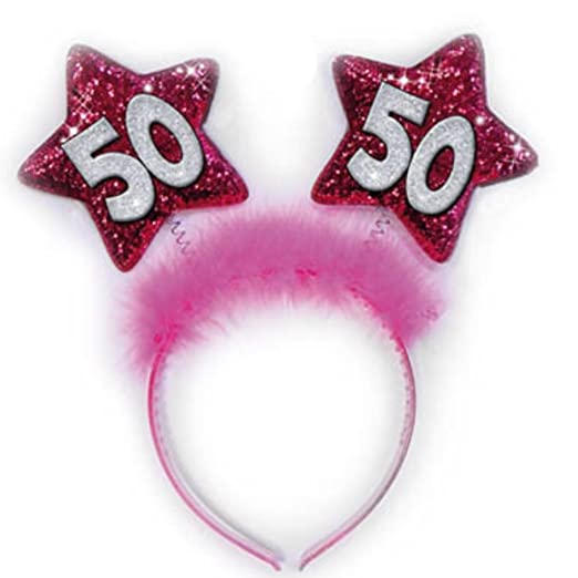 Diadema 50 años estrellas Fucsia Gadget idea regalo Broma ...