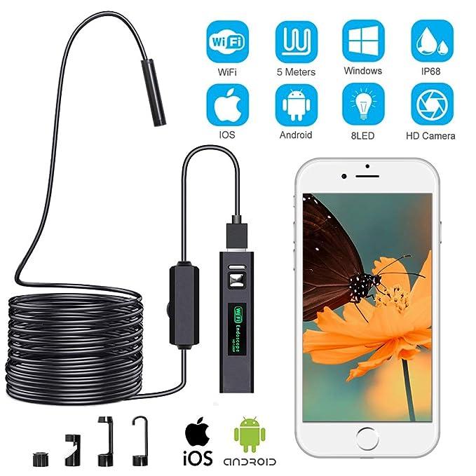 Duang Cámara de inspección endoscópica, cámara de inspección inalámbrica, endoscopio WiFi, boroscopio USB 1200P impermeable IP68 con cable semirrígido de 5 ...