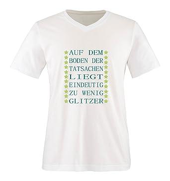 Damen T Shirt Spruch Auf Dem Boden Der Tatsachen Liegt Zu Wenig Glitzer