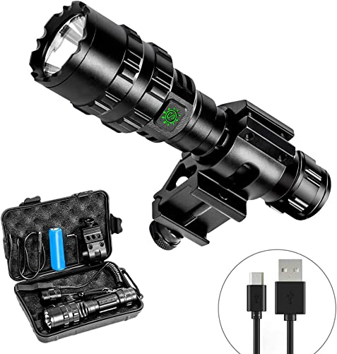 Ouesen LED Tactical Flashlight with Picatinny Mount, 1600LM Bright 5 Modes Opreated Flashlight with USB Rechargeable Batteries, Remote Pressure Switch, for Camping Biking Hunting CREE XML-L2 LED