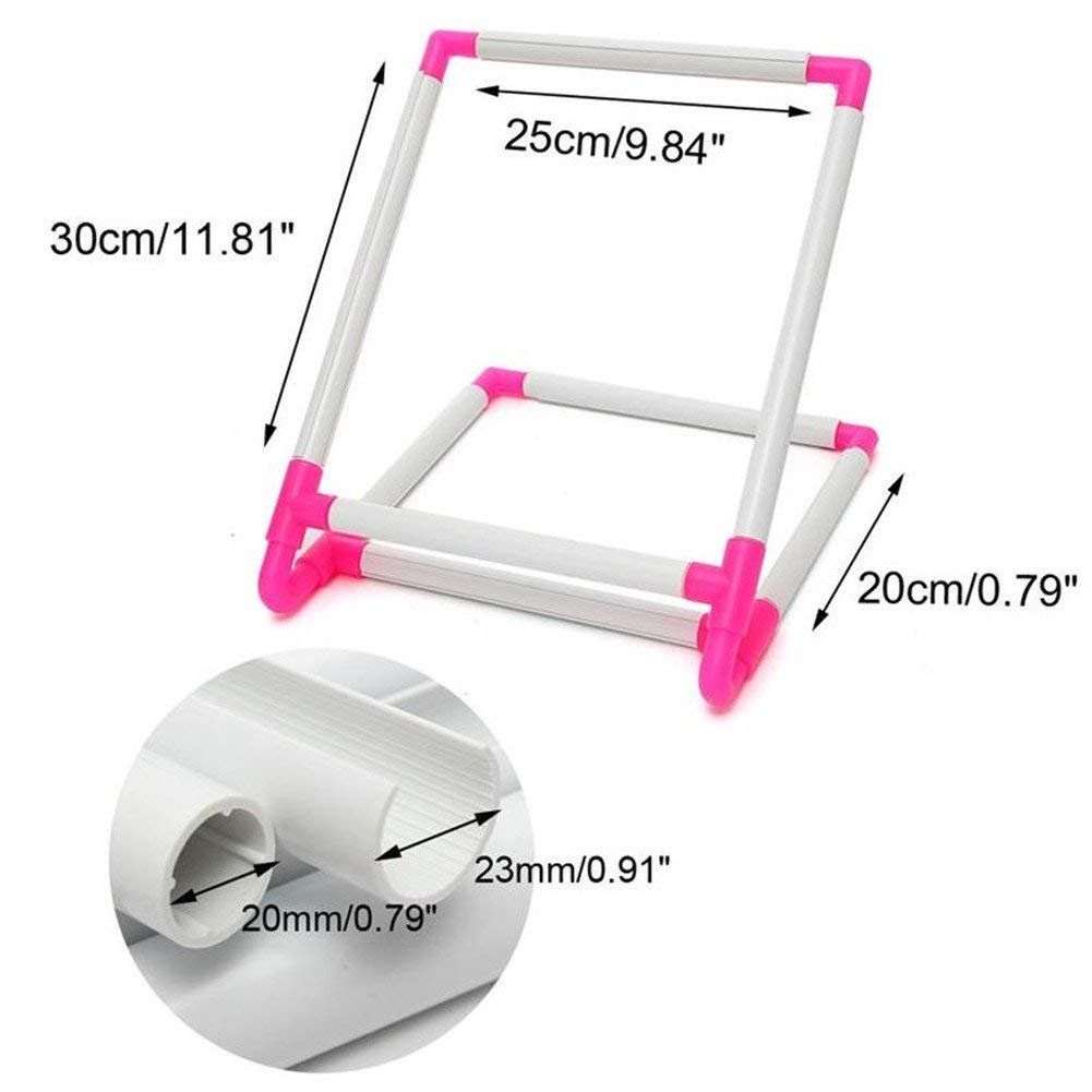 Plastic Embroidery Sewing Stand Tools Rectangle Quilting Cross-Stitch Needlepoint Silk-Painting Craft DIY Tool Double Universal Clip Frame Embroidery Sewing Hoop Embroidery Frame Cross Stitch Hoop