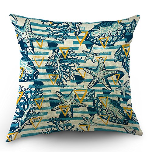 Moslion Sea Pillows Striped Throw Pillow Cover Vintage Fish Coral Starfish Seashell Pillow Case 18 x 18 Inch Cotton Linen Square Cushion Cover Easter for Sofa Bed Blue