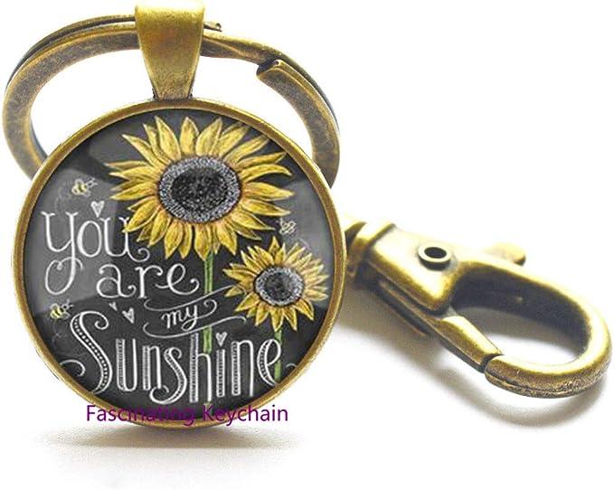 Sunflower Keychain Mini Keychain Embroidered Sunflower Keychain Bright Sunflower Keychain