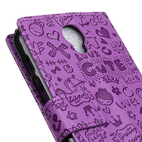 Lusee PU Caso de cuero sintético Funda para Wiko Harry Cubierta con funda de silicona botón pequeña bruja rojo rosa pequeña bruja lilac