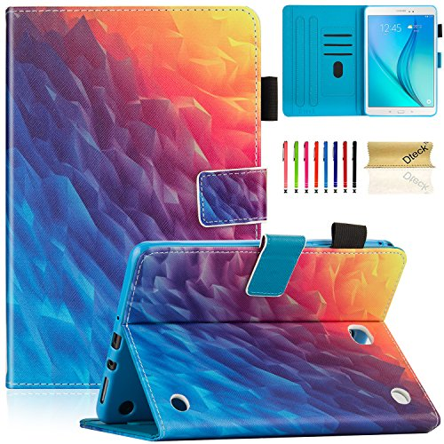 Galaxy Tab A 8.0 2015 Model Case with Stylus Pen, SM-T350 Case, Dteck Protective PU Leather Smart Case with [Auto Sleep/Wake] Pretty Flip Folio Stand Cover for Samsung Galaxy Tab A 8 Inch-Colorful Ice