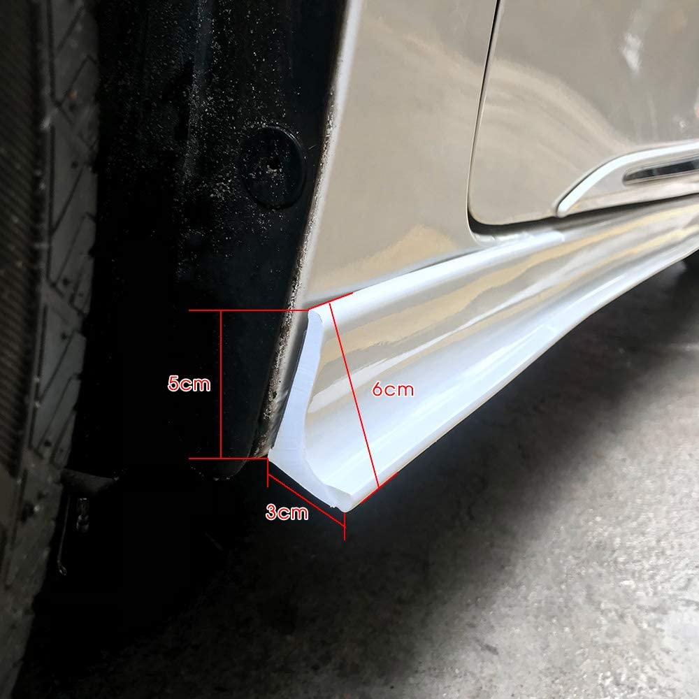 Universal Rocker Panel Extension Lower Side Splitter Lip Car DiffusersSkirts Body KitCompatible With Most Cars 2.2M//86.6inch Bright whiteOne Pair