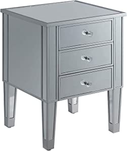 Convenience Concepts Gold Coast 3 Drawer Mirrored End Table, Mirror / Silver