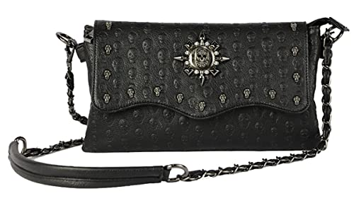 5ac206f79143c8 Women Black Punk Skull Rivets Flap Cross Body Bags with Chain Strap (Black-4