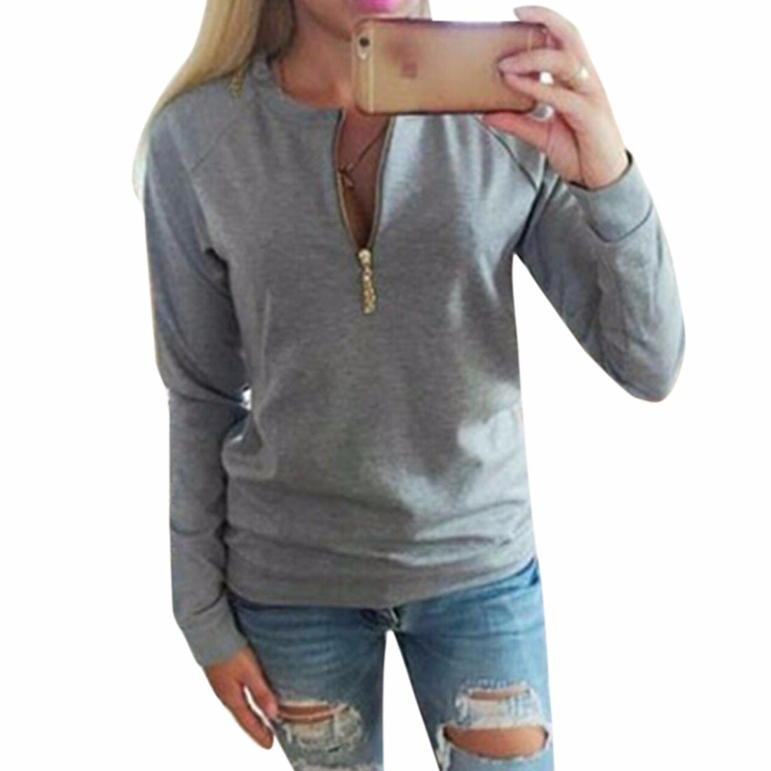 Lady Winter/Fall Hoodies Long Sleeves Zipper Round Collar Simple Loose New WINSON