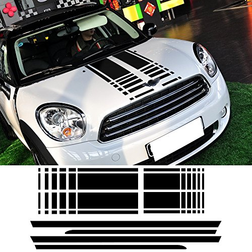 Bonnet Stripes Hood Decal Trunk Rear Side Skirt Racing Stripes Decal Stickers For Mini Cooper Countryman R60 2013-2016 3 colors (Gloss ()