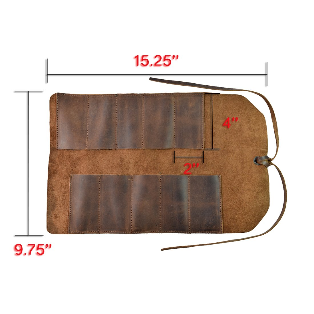 Rustic Leather Small Tool Roll Handmade by Hide & Drink :: Bourbon Brown by Hide & Drink (Image #5)