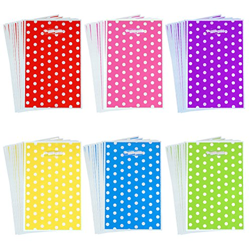 Aneco 120 Pieces Assorted Colors Plastic Bags Party Favor Bags Plastic Goody Bags with White Dots Patterns for Party and Birthday, 6 Colors -