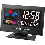 KKmoon ℃/℉ LCD デジタル温度湿度計 LCD温度湿度計 時計温度計湿度計 カレンダー/温度トレンドアラーム/快適度/天気予報/音声活性化バックライト(単4電池なし)