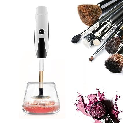 Hethrone Limpiador y secador eléctrico de brochas de maquillaje automático con dos bandas de silicona flexible