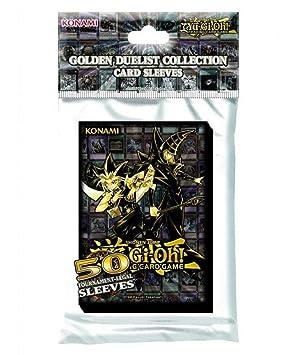 Yu-Gi-Oh! KONGDCS - Fundas para Tarjetas (50 Unidades), Color Dorado